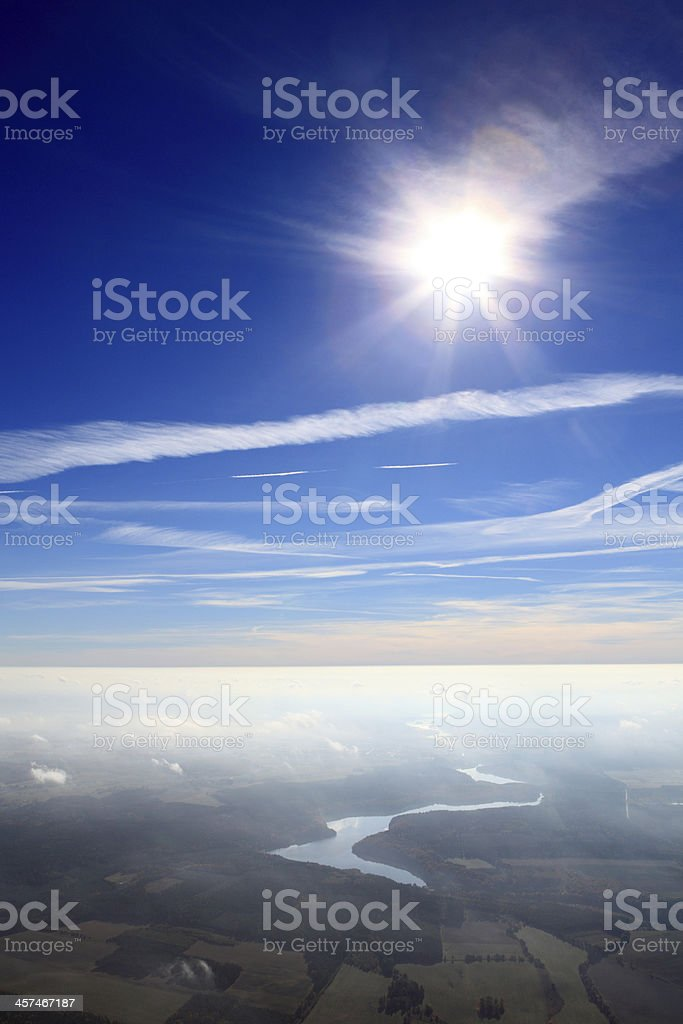 Blue sky above the thermal inversion. Autumn royalty-free stock photo