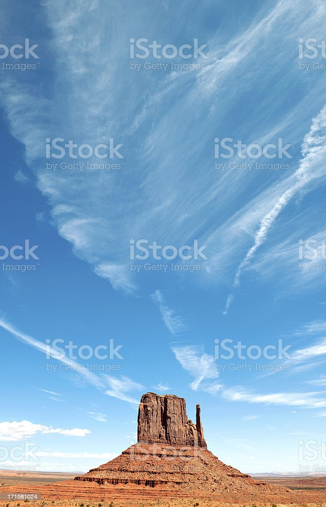 Blue Sky above West Mitten Butte Monument Valley USA stock photo
