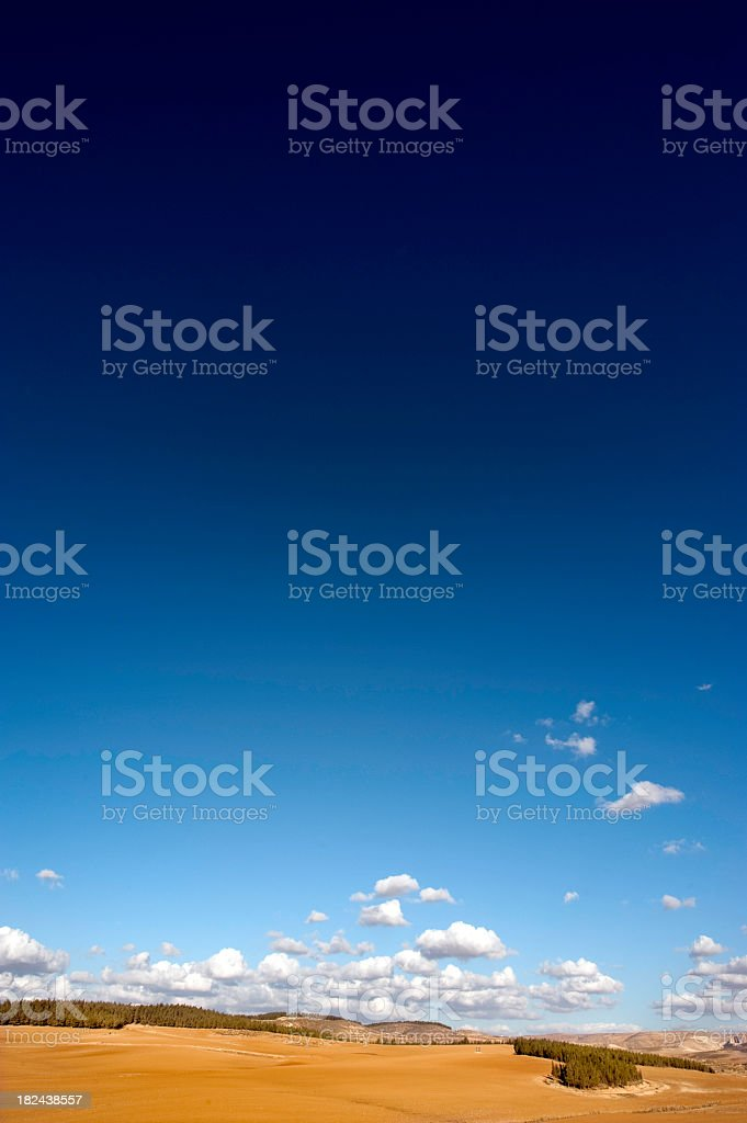 Blue Sky and Agricultural Field stock photo