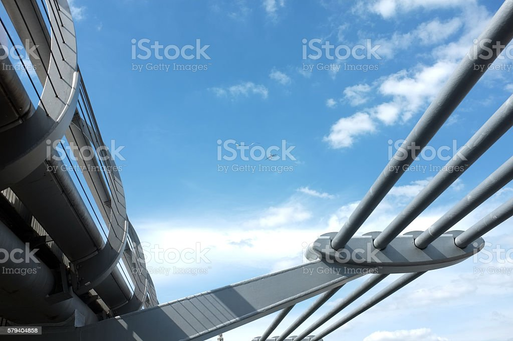 Blue sky and and a footbridge stock photo