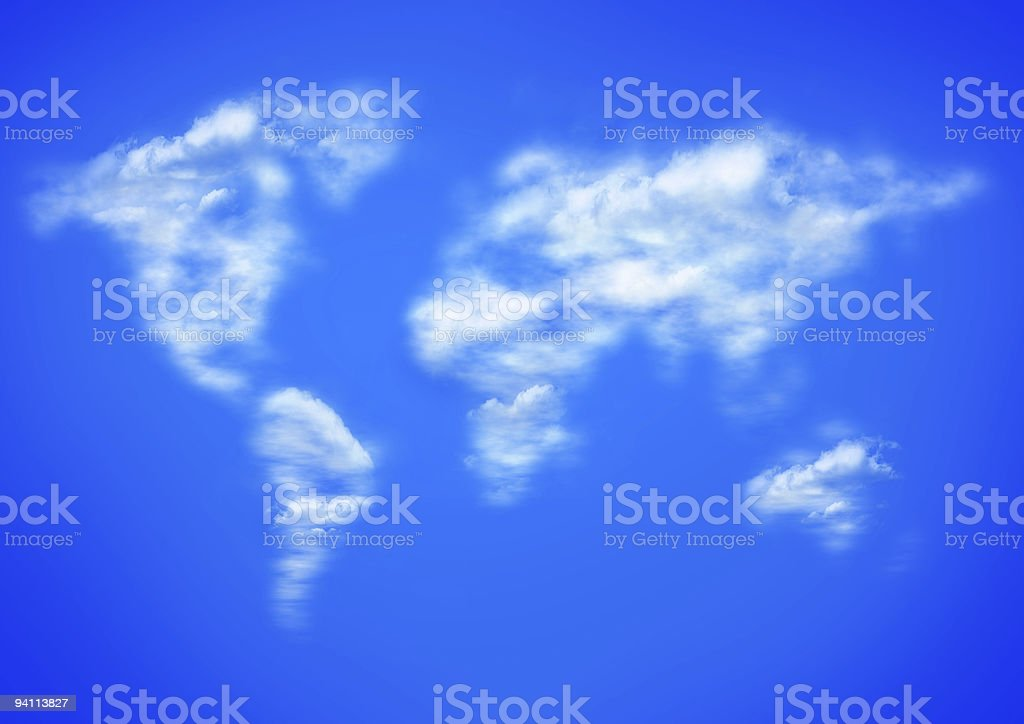 Blue sky and clouds as worlwide map stock photo
