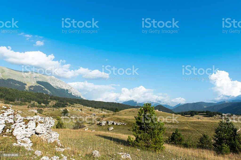Blue sky and clouds, National Park of Abruzzo stock photo