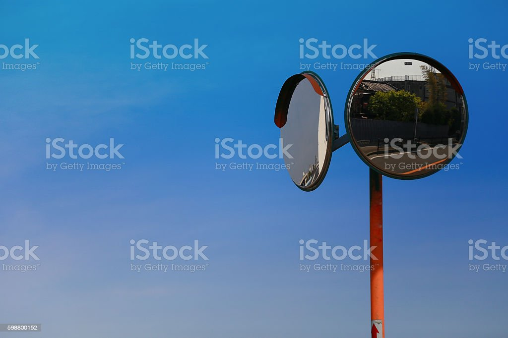 blue sky and convex mirror foto de stock libre de derechos