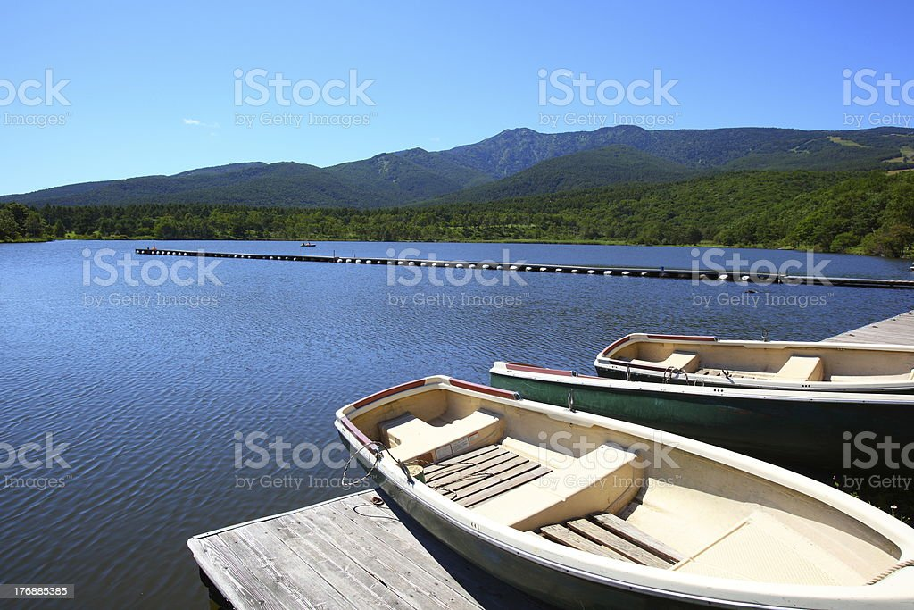 Blue sky and lake in the mountain royalty-free stock photo