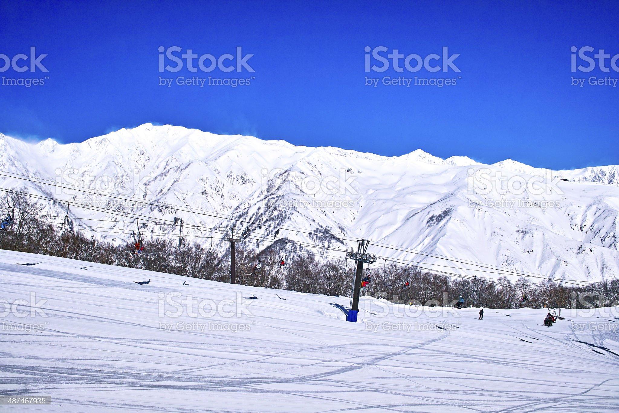 Blue sky and ski list royalty-free stock photo