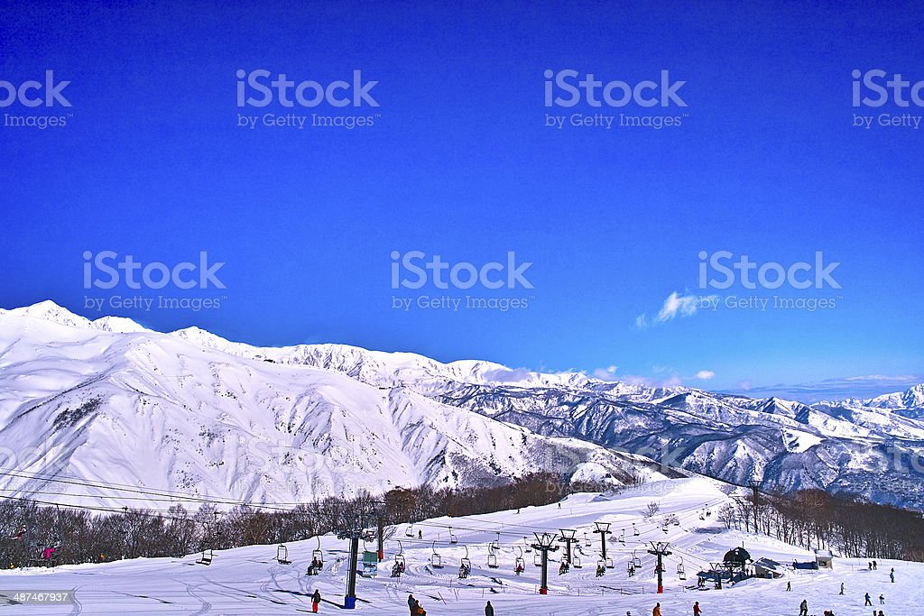 Blue sky and ski list royalty-free stock photo