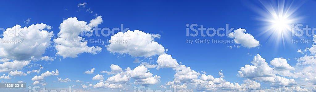 Blue Sky and Sun - Panorama XXXL 47Mpx. royalty-free stock photo