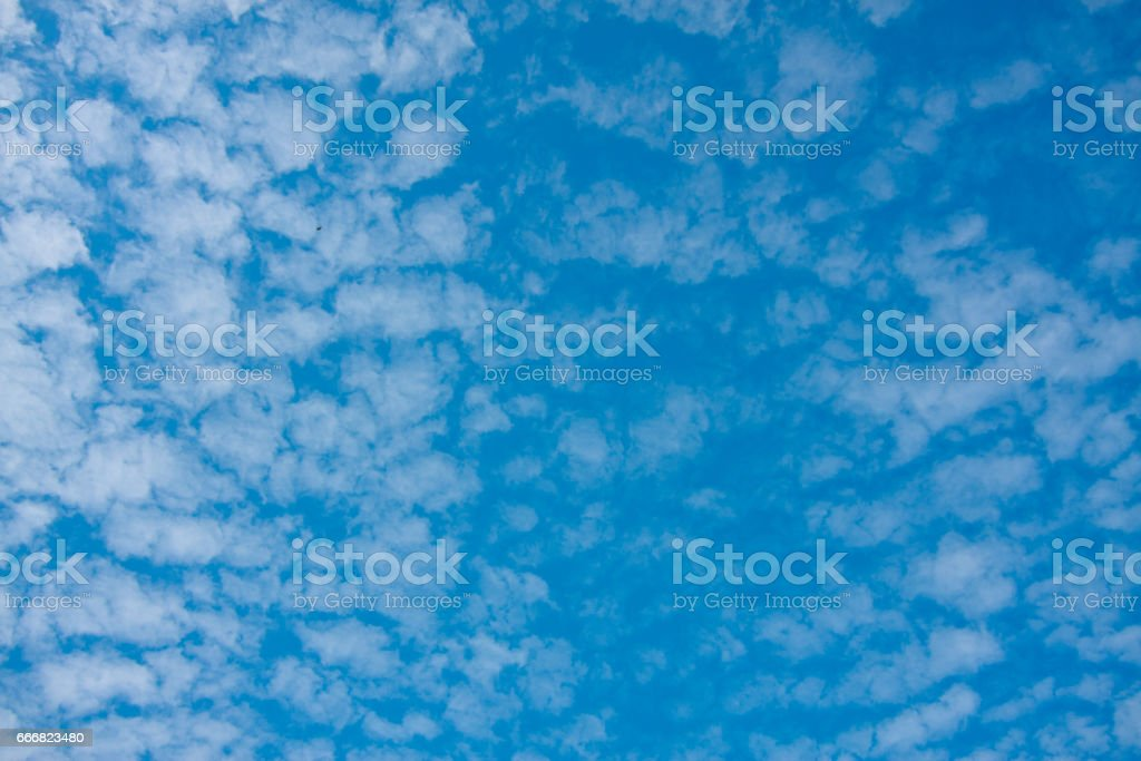 blue sky and tiny clouds on nature background texture stock photo
