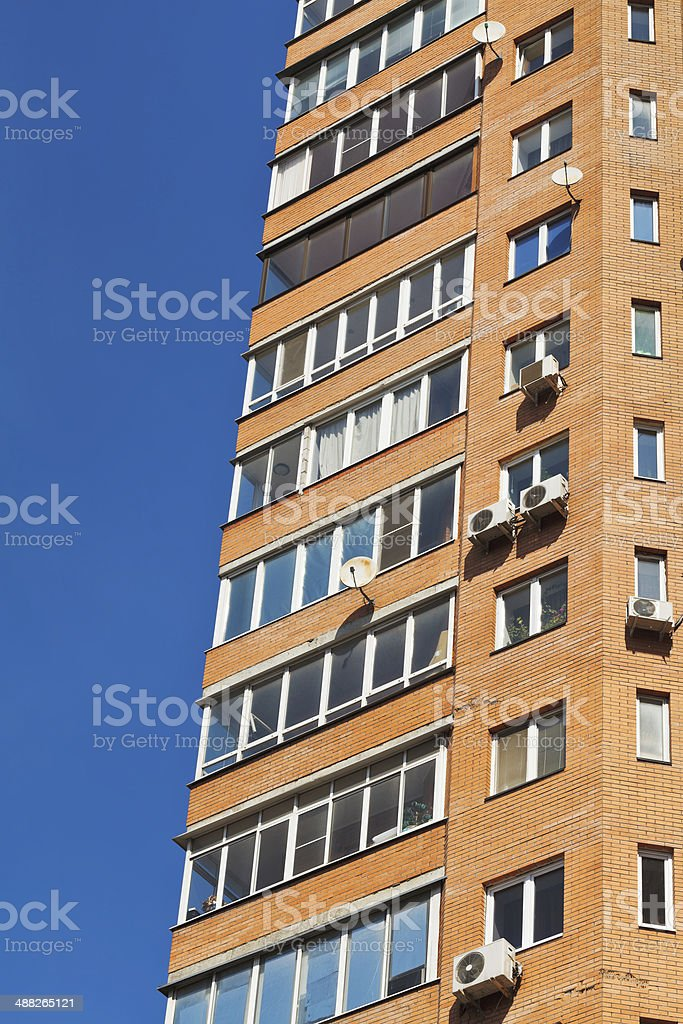 blue sky and wall of multistorey house royalty-free stock photo