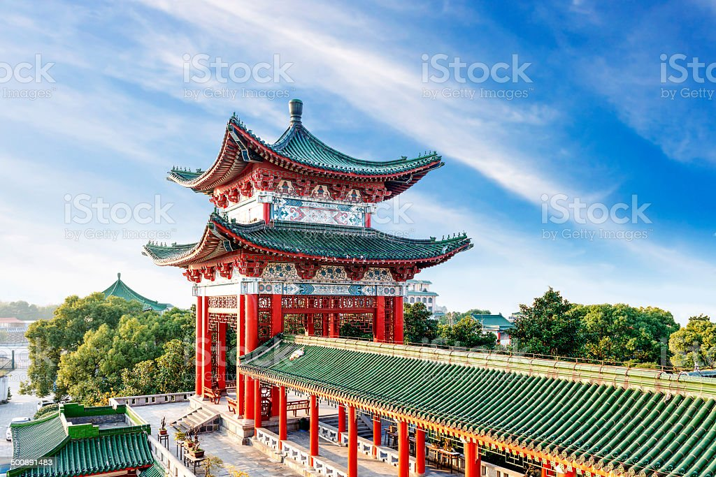 Blue sky and white clouds, ancient Chinese architecture stock photo