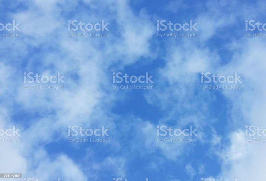 Blue sky and white clouds in a nice day stock photo