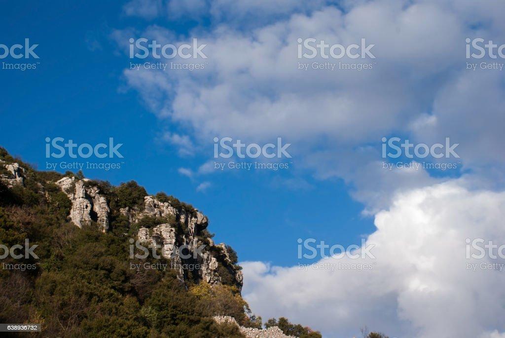 Blue sky at Zagorochoria area stock photo