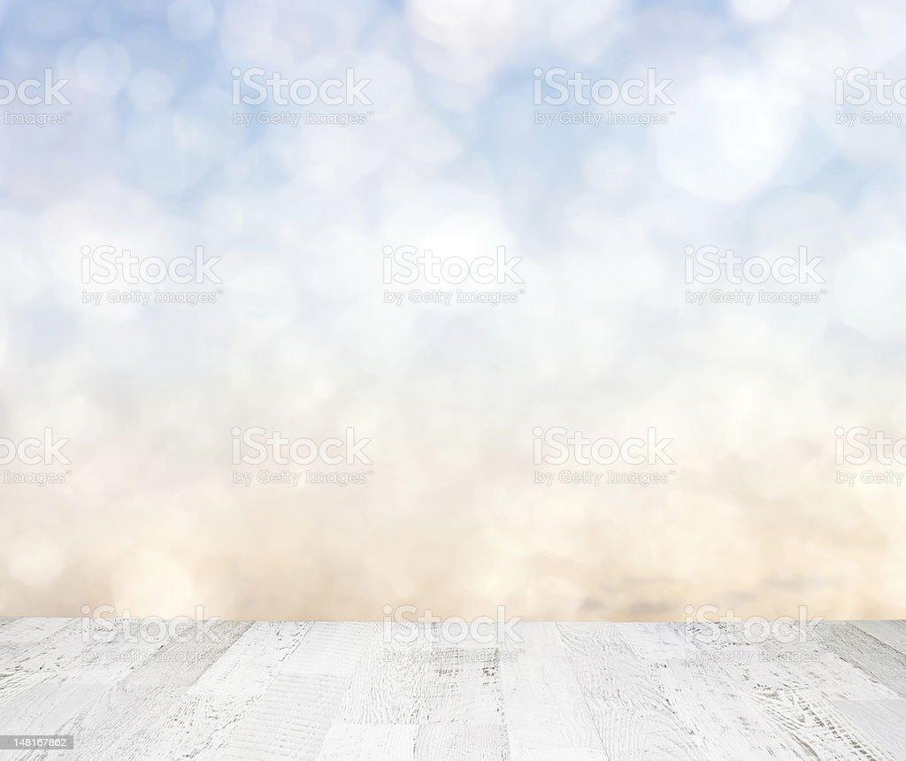 Blue sky behind wooden floor royalty-free stock photo