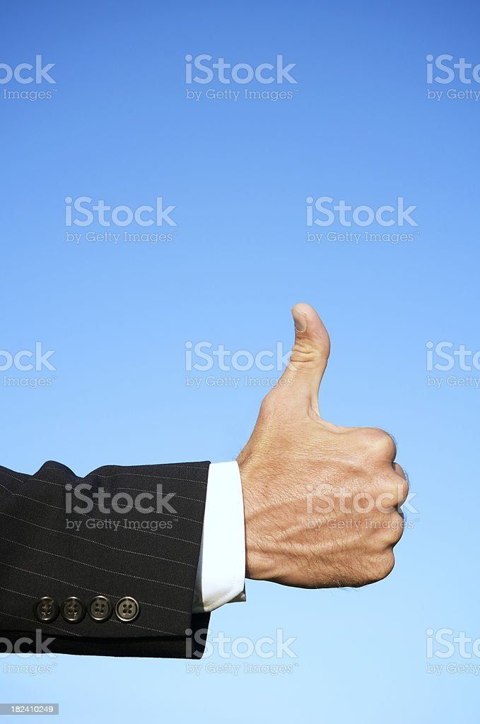 Blue Sky Businessman Thumb Up royalty-free stock photo