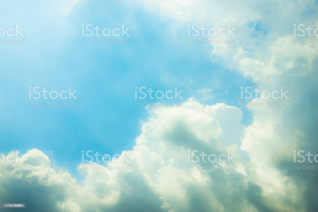 Blue sky, clouds and sun light background royalty-free stock photo
