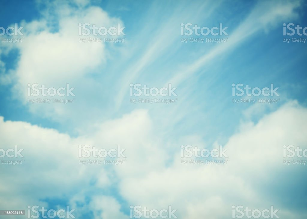 Blue sky clouds and sun light. Summer, spring time blurred stock photo
