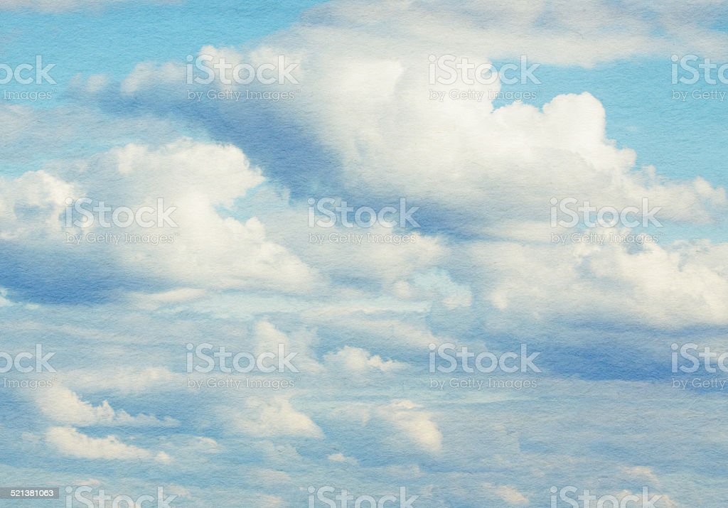 Blue sky, clouds and sun light. Summer time. stock photo