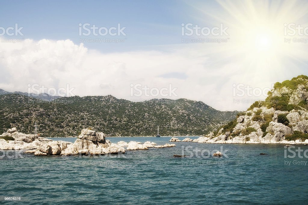 Blue sky clouds and wonderful sea in Kekova. stock photo