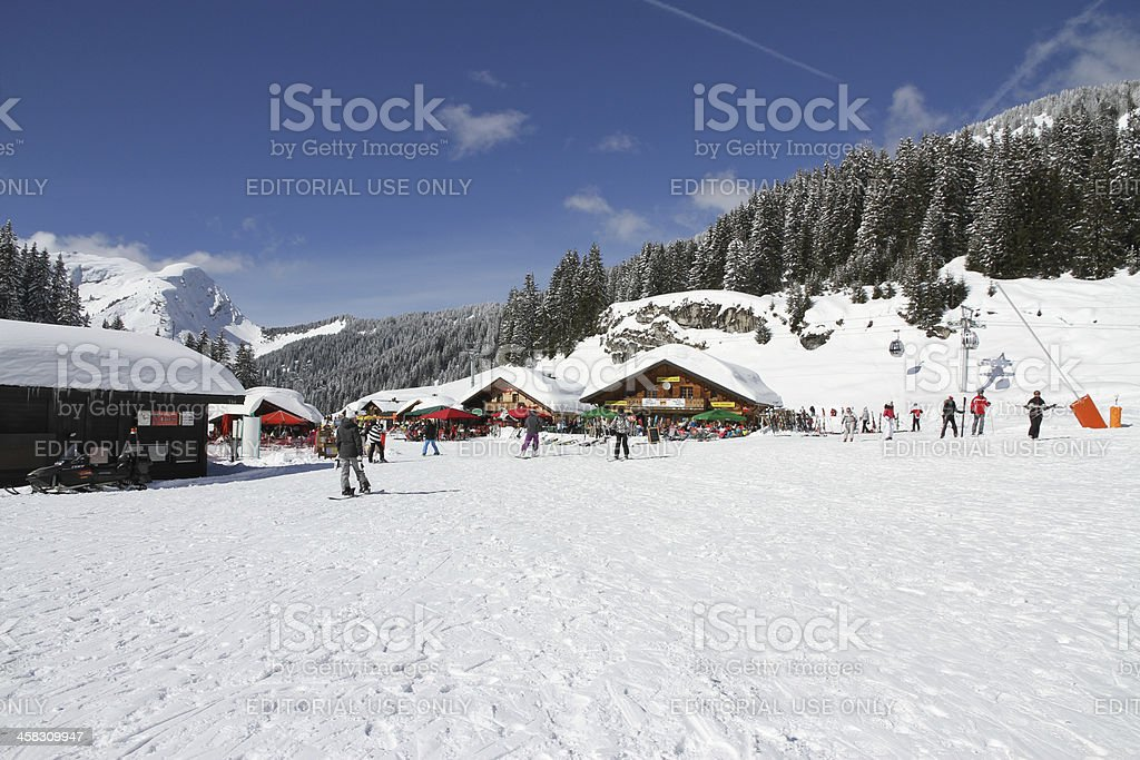 Blue sky day in the Linderets ski basin. royalty-free stock photo