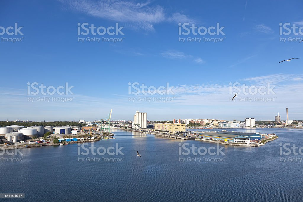 Blue sky factories and industry Stockholm Sweden royalty-free stock photo