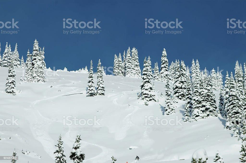 Blue Sky - Fresh Tracks stock photo