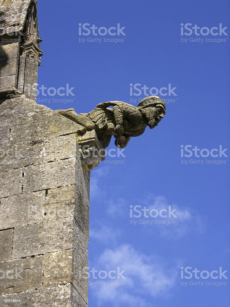 blue sky gargoyle french church architecture royalty-free stock photo