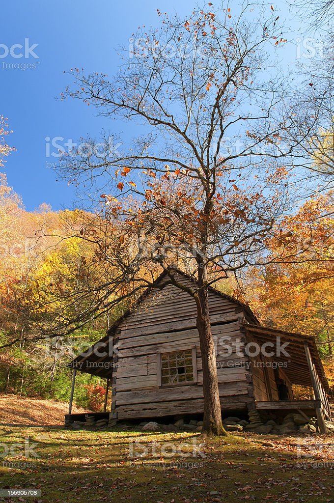 Blue Sky highlights pioneer housRoaring Fork- Gatlinburg, Tennessee stock photo