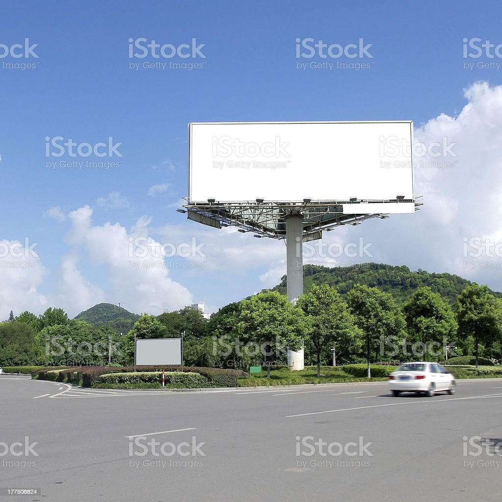 Blue Sky highway billboards royalty-free stock photo