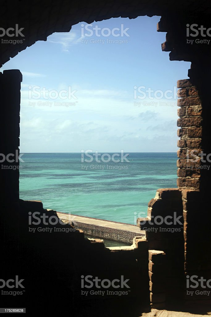 'Blue sky, horizon, ocean framed by brick ruins.  Copy space.' stock photo