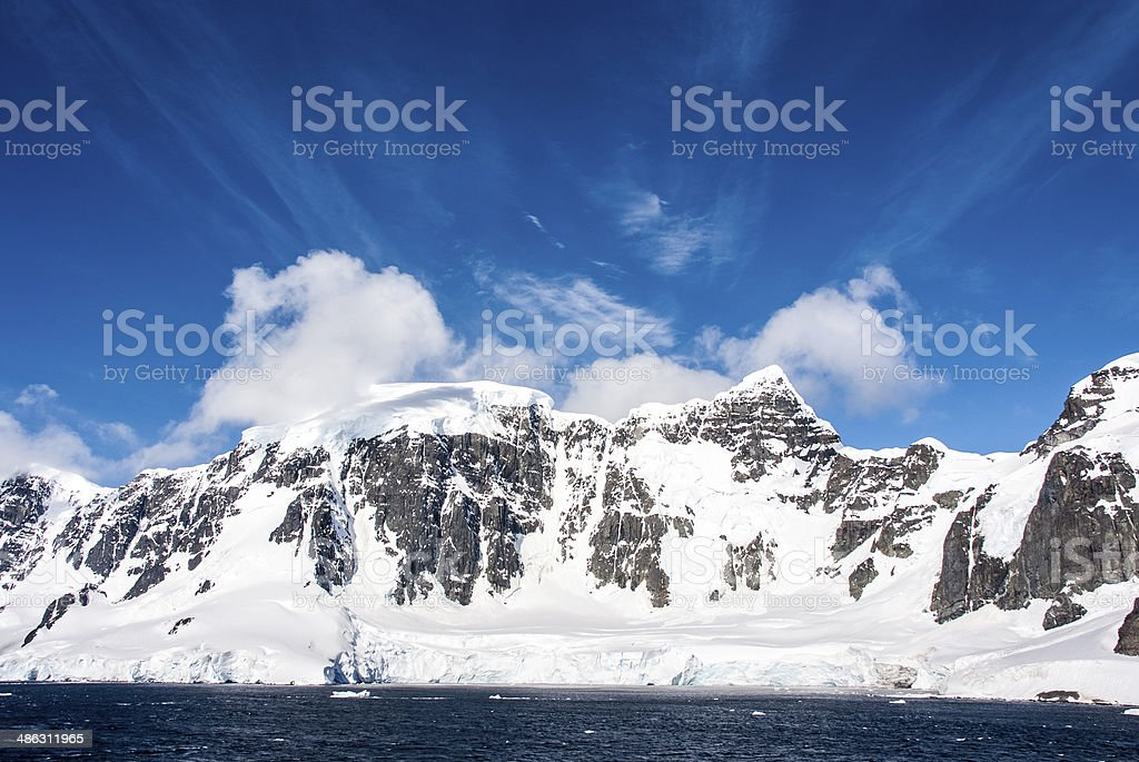Blue sky in Antarctica stock photo
