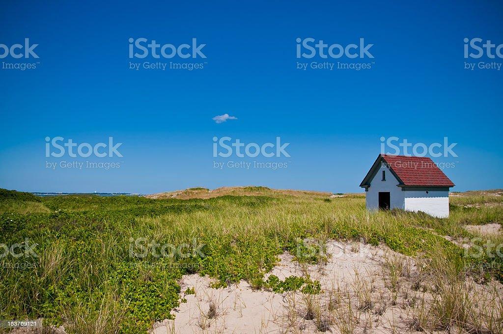 Blue Sky Lighthouse Station stock photo