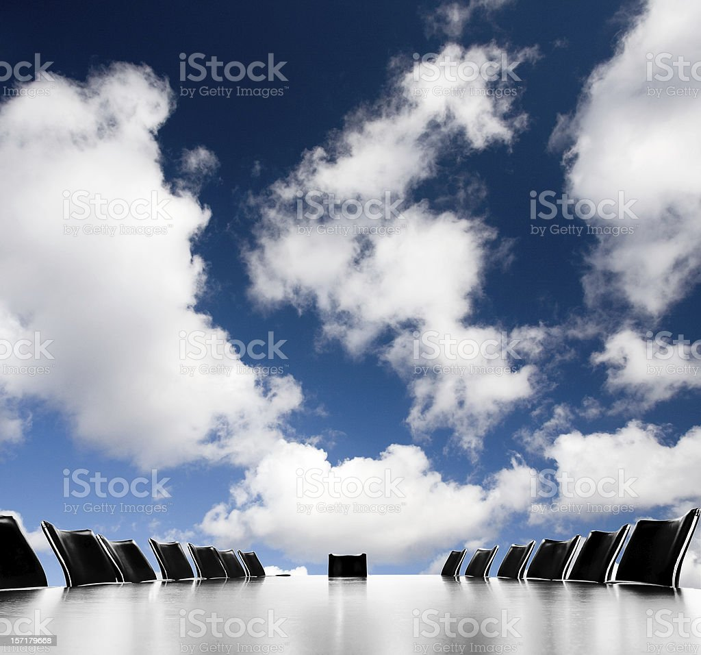 Blue sky meeting stock photo