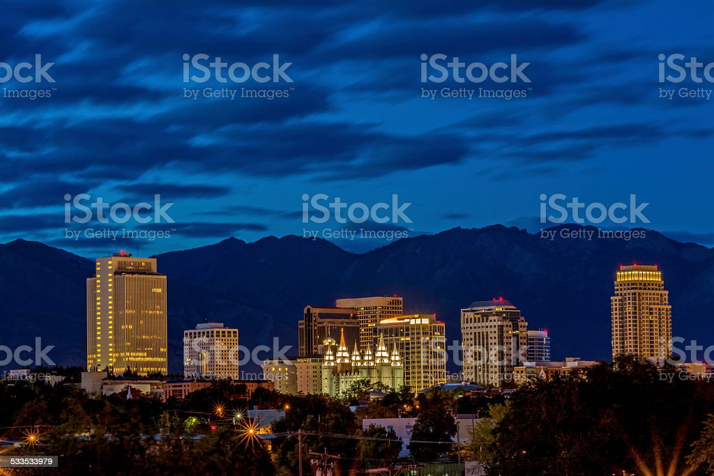 Blue sky night over the capital city of Udah stock photo