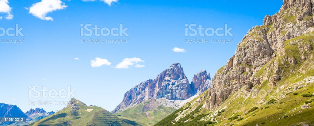 Blue sky on Dolomiti Mountains in Italy stock photo