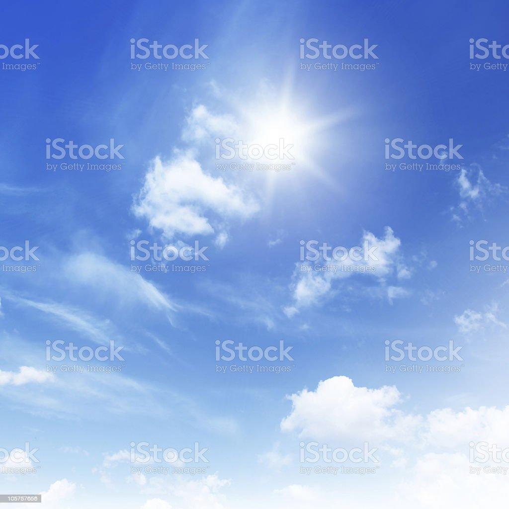 Blue sky on sunny day. stock photo