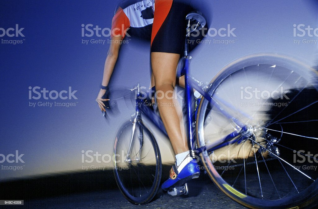 blue sky over athlete stock photo