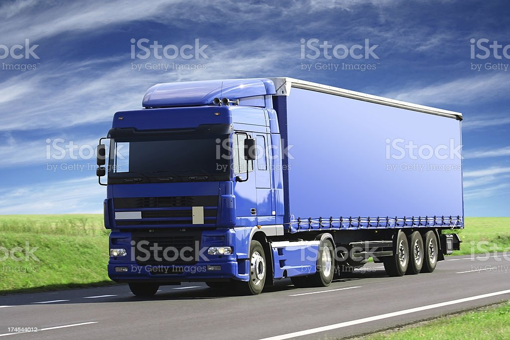 Blue Sky Over Blue Truck royalty-free stock photo