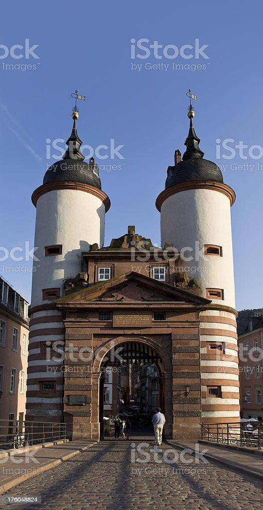 Blue sky over bridge in Heidelberg Germany stock photo