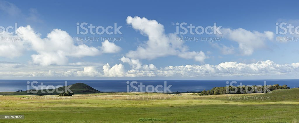 Blue sky over Easter Island Chile stock photo