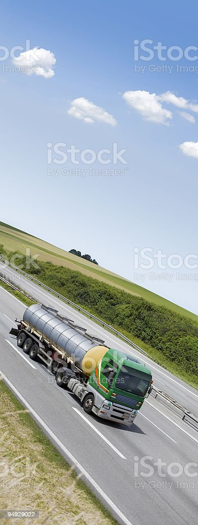 Blue sky over green truck royalty-free stock photo