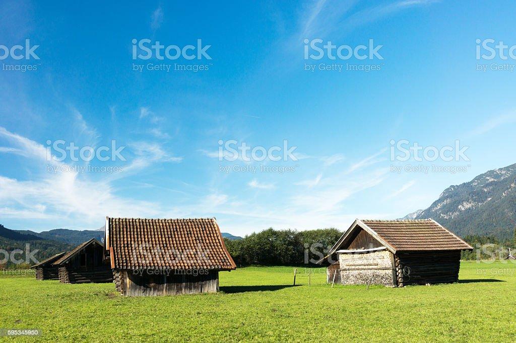 Blue Sky over Hay Barns at Grainau / Bavaria stock photo