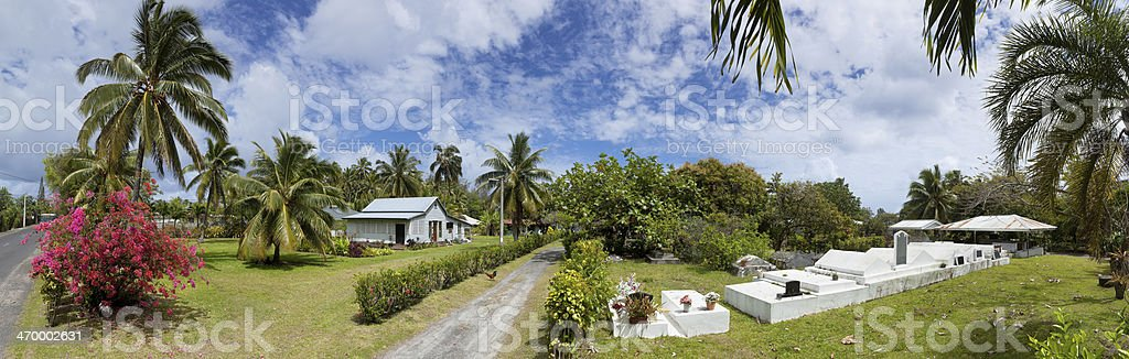 Blue sky over house on Rarotonga Cook Islands Panorama royalty-free stock photo