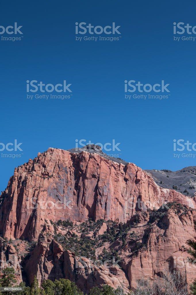 Blue Sky Over Kolob Canyon Cliff stock photo