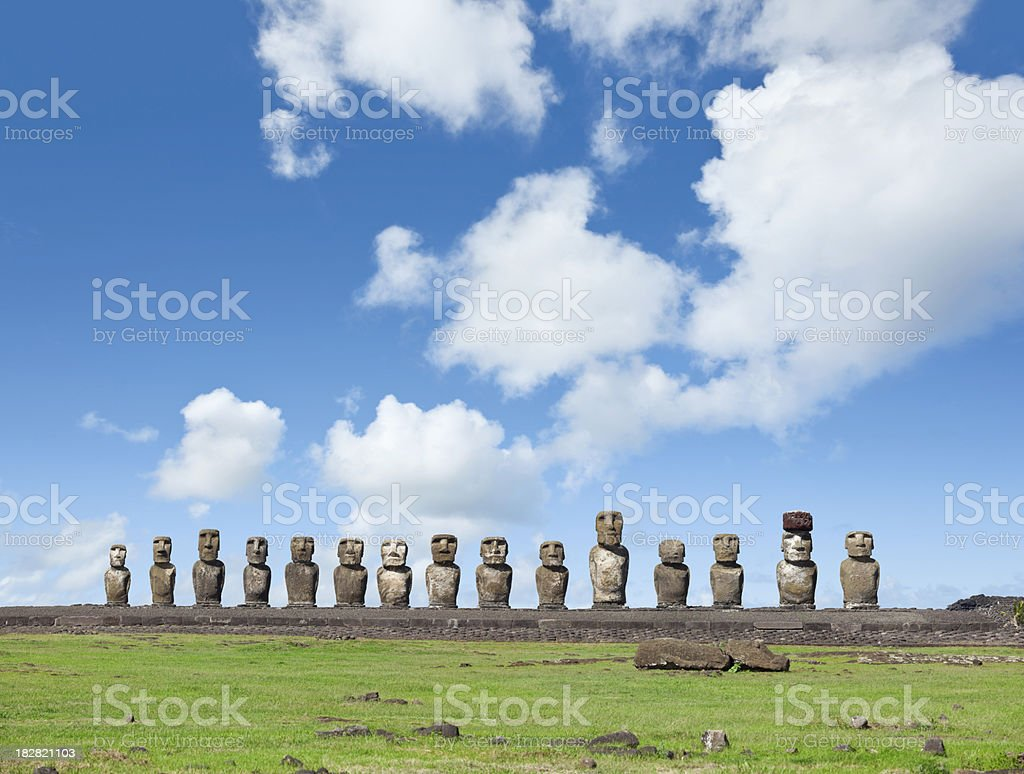 Blue sky over Moai at Ahu Tongariki Easter Island Chile stock photo