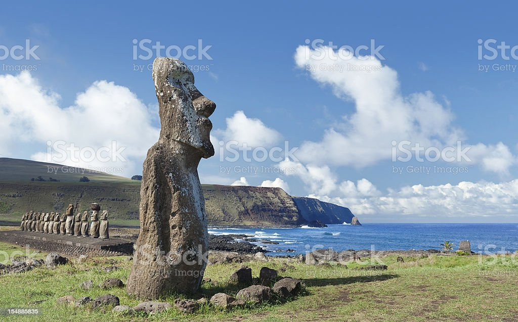 Blue sky over Moai at Easter Island Chile stock photo