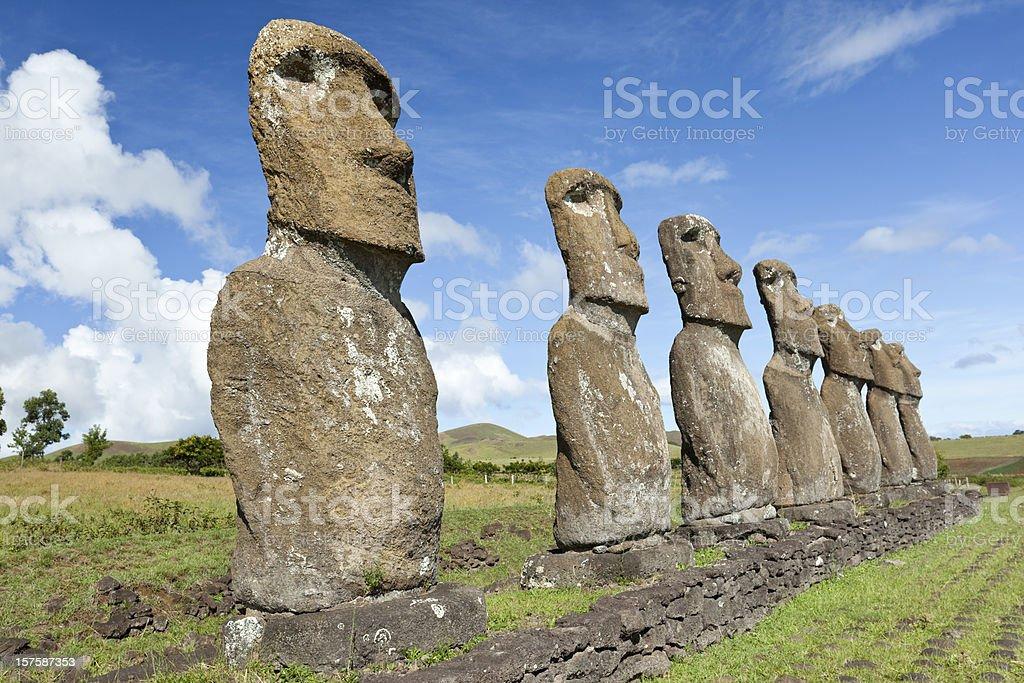 Blue sky over Moai at Hanga Roa Easter Island Chile royalty-free stock photo