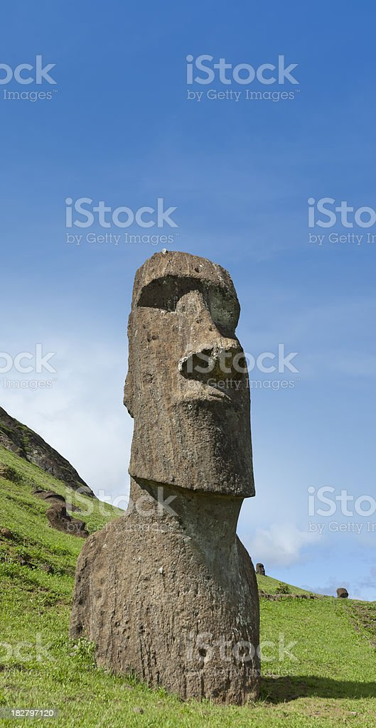 Blue sky over Moai at Rano Raraku Easter Island Chile stock photo