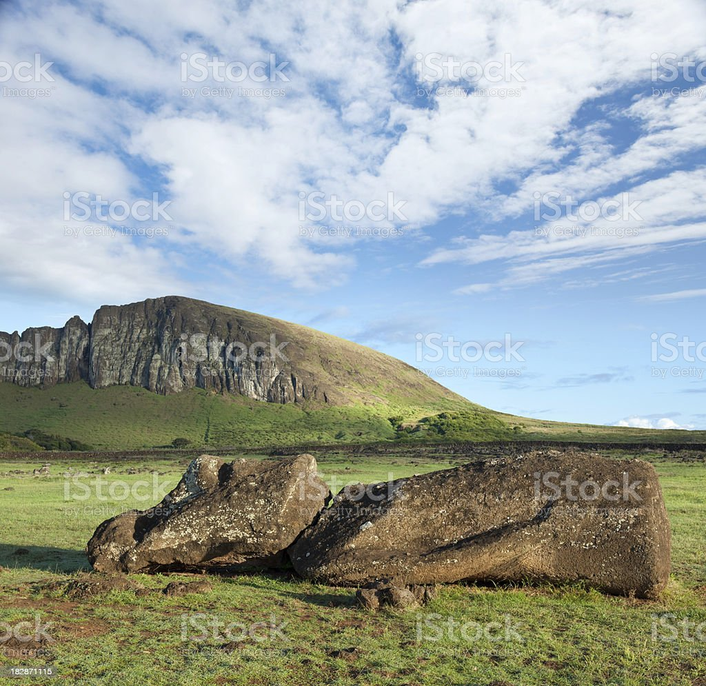 Blue sky over Moai at Rano Raraku Easter Island stock photo