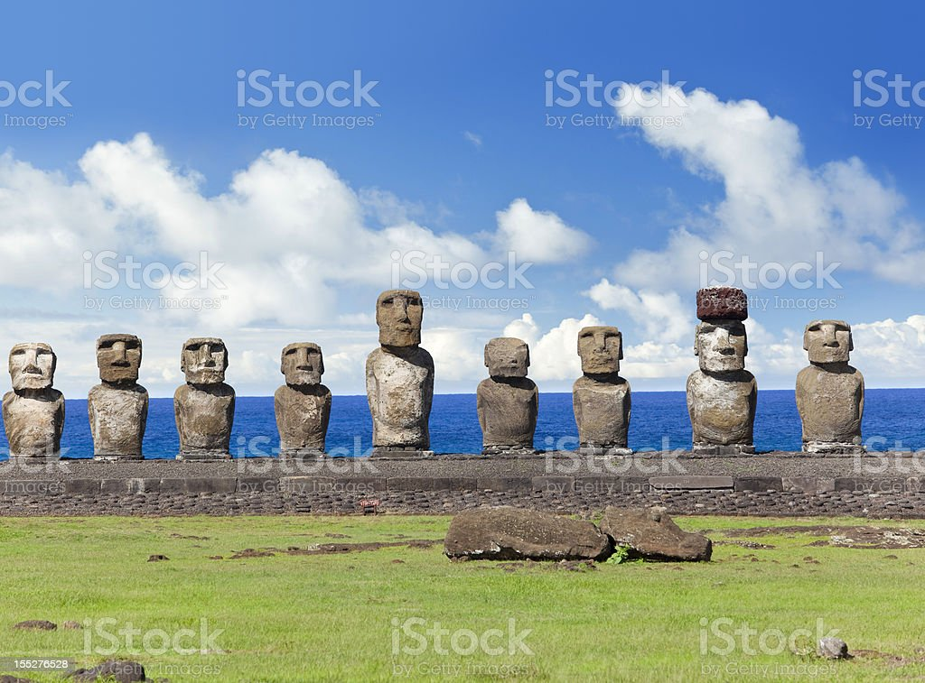 Blue sky over Moais at Ahu Tongariki Easter Island Chile stock photo