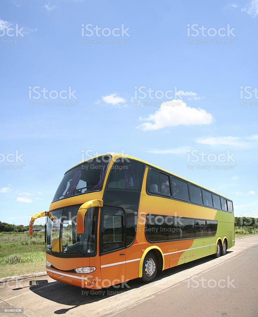 Blue sky over modern bus stock photo